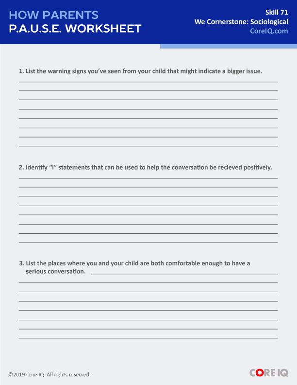 How parents p.a.u.s.e. Worksheet -