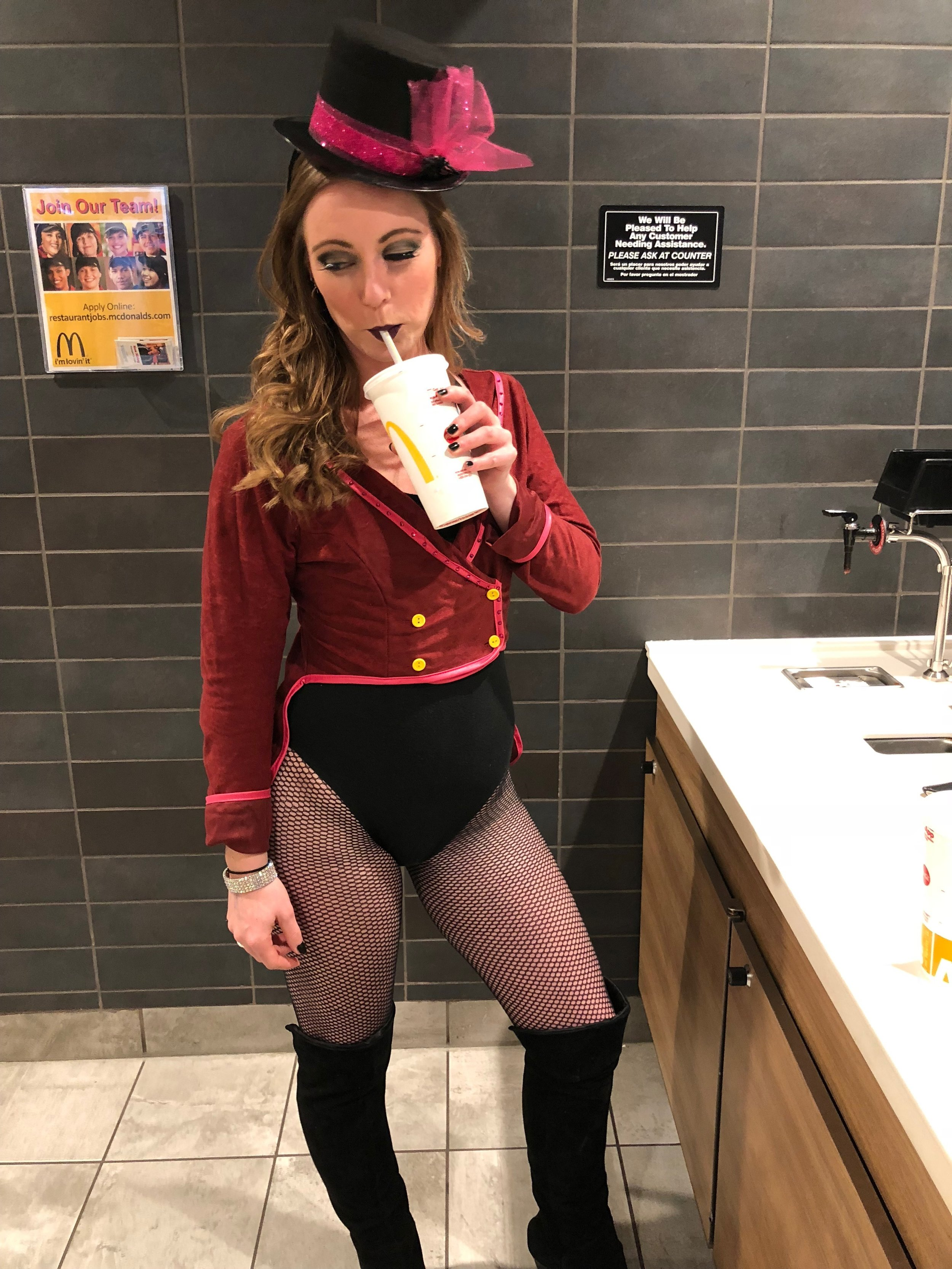 """We did Halloween right after a wedding, so the """"quick change"""" happened in the bathroom of the Aurora McDonald's."""
