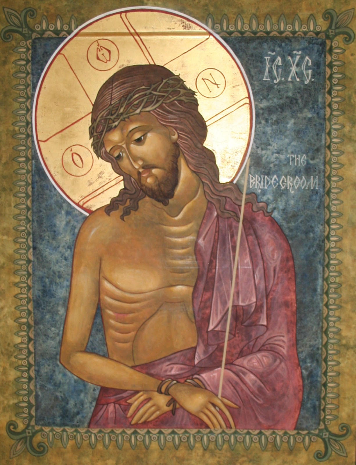 The icon of Christ the Bridegroom, used during Holy Week, visually depicts the imagery of Christ as King during his mockery.