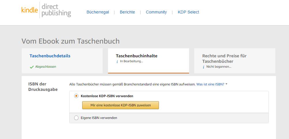 Taschenbuch ISBN-Nummer