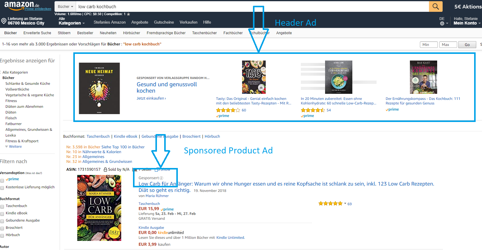 Amazon Werbekampagne Sponsored Product Ad