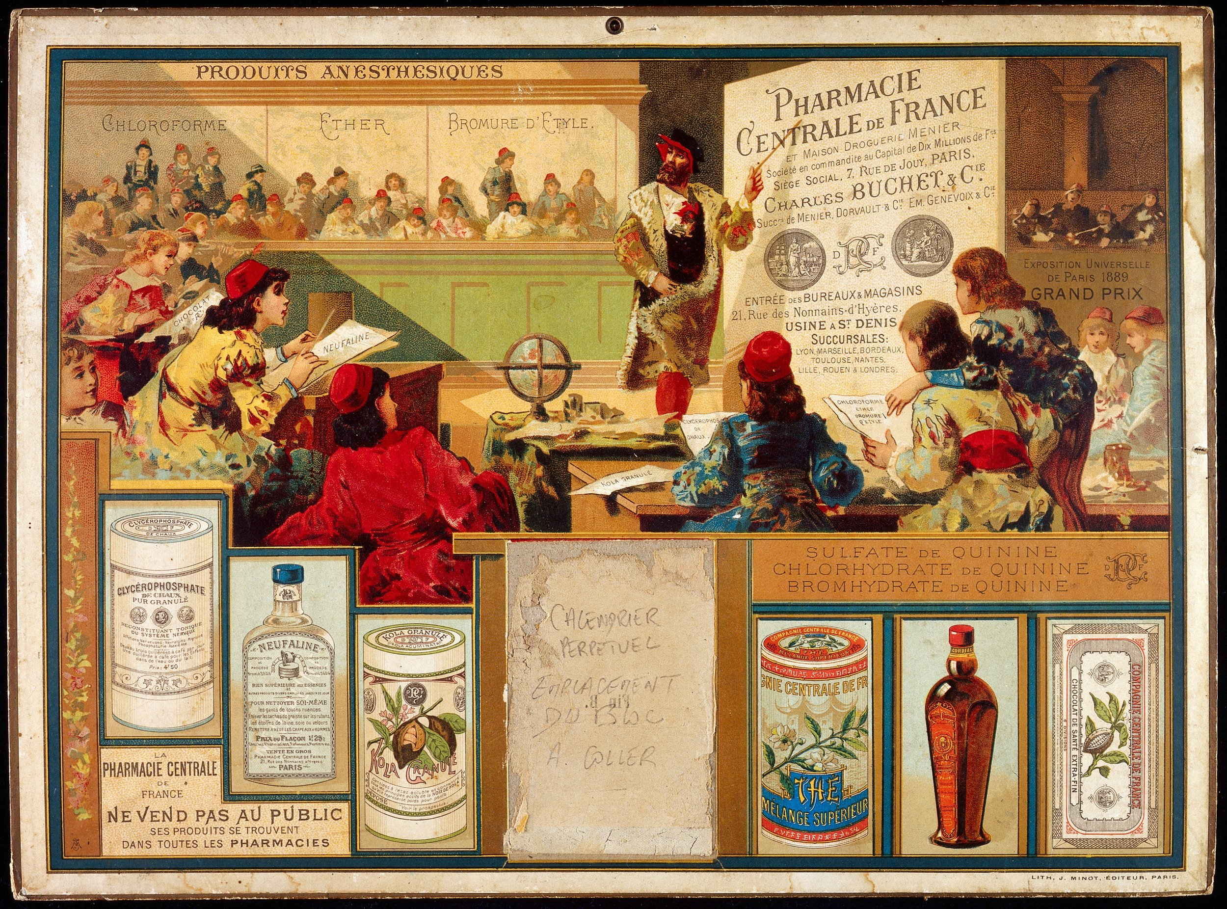 - Pharmacie Centrale de France et Maison Droguerie Menier. A professor teaching pharmacy to students in mid-16th century Paris; representing a calendar advertising products of the Pharmacie Centrale de France. Colour lithograph, after 1889. Credit: Wellcome Collection. CC BY