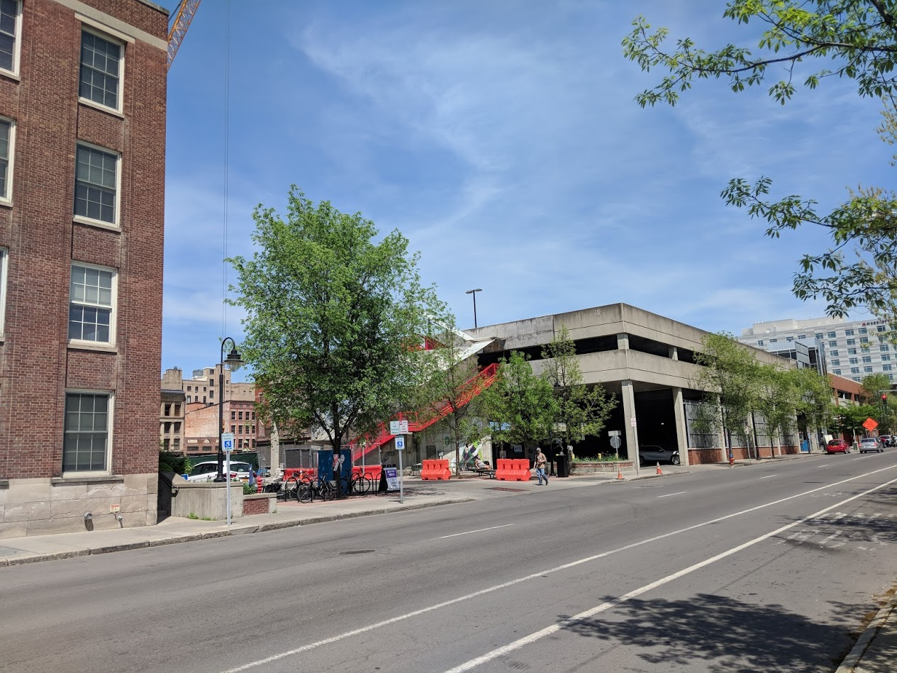 The view east down Green Street from in front of the Library.