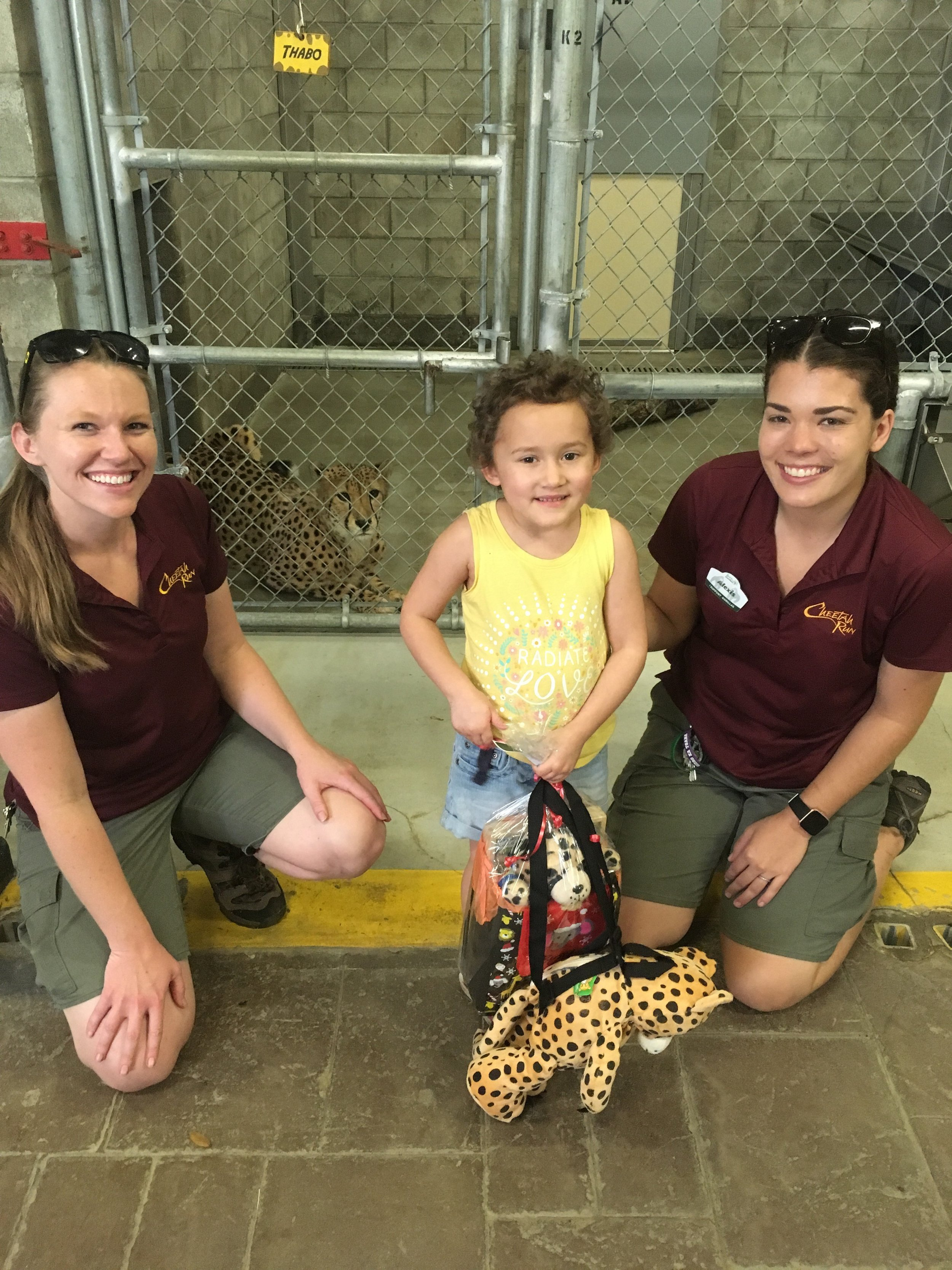 "Pictured:  Maia's dream of meeting a cheetah in ""real life"" comes true - thanks to the team at Busch Gardesns for being so fantastic!"