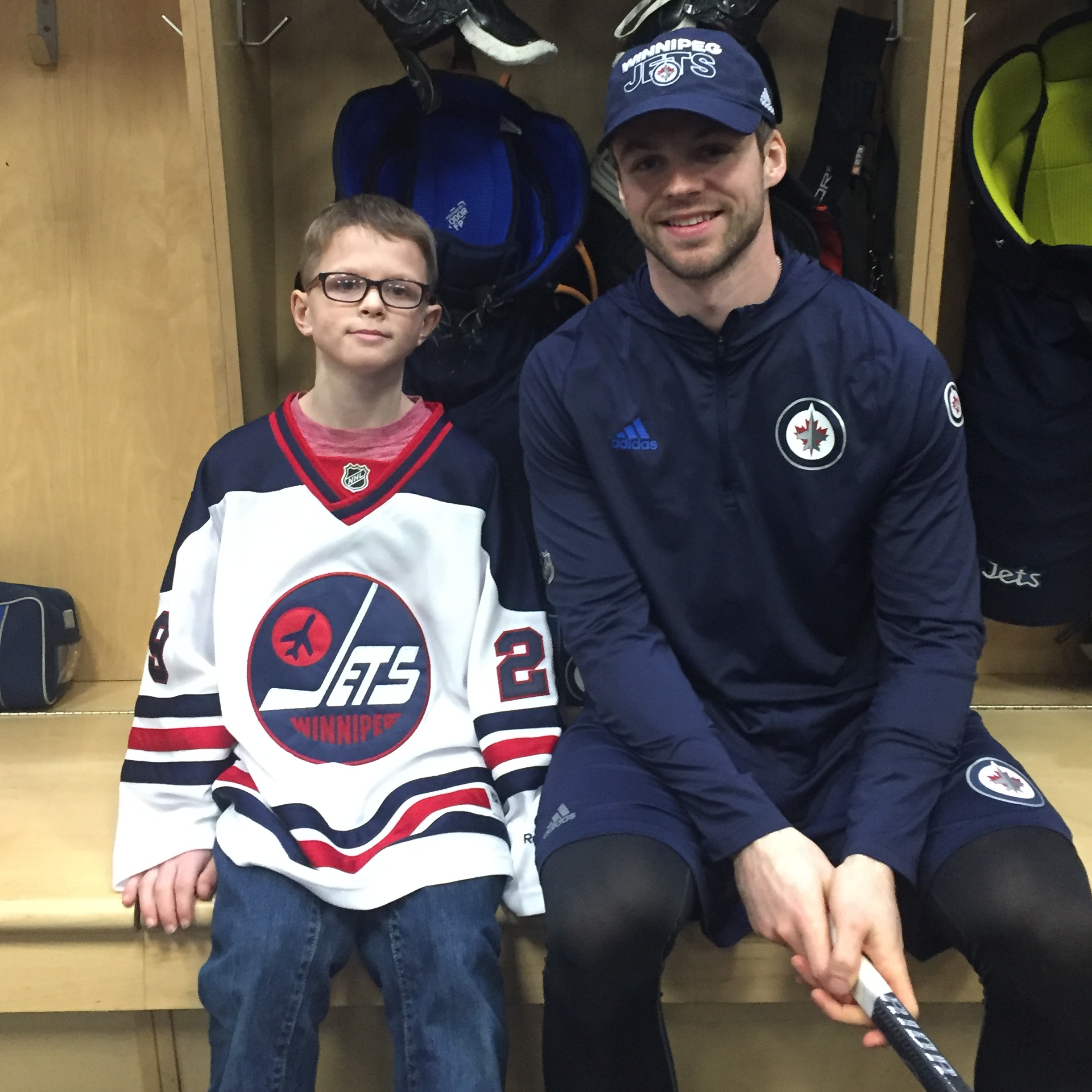 Pictured: Dream Kid Ethan meeting his favourite player, Josh Morrissey during his Winnipeg Jets Dream!