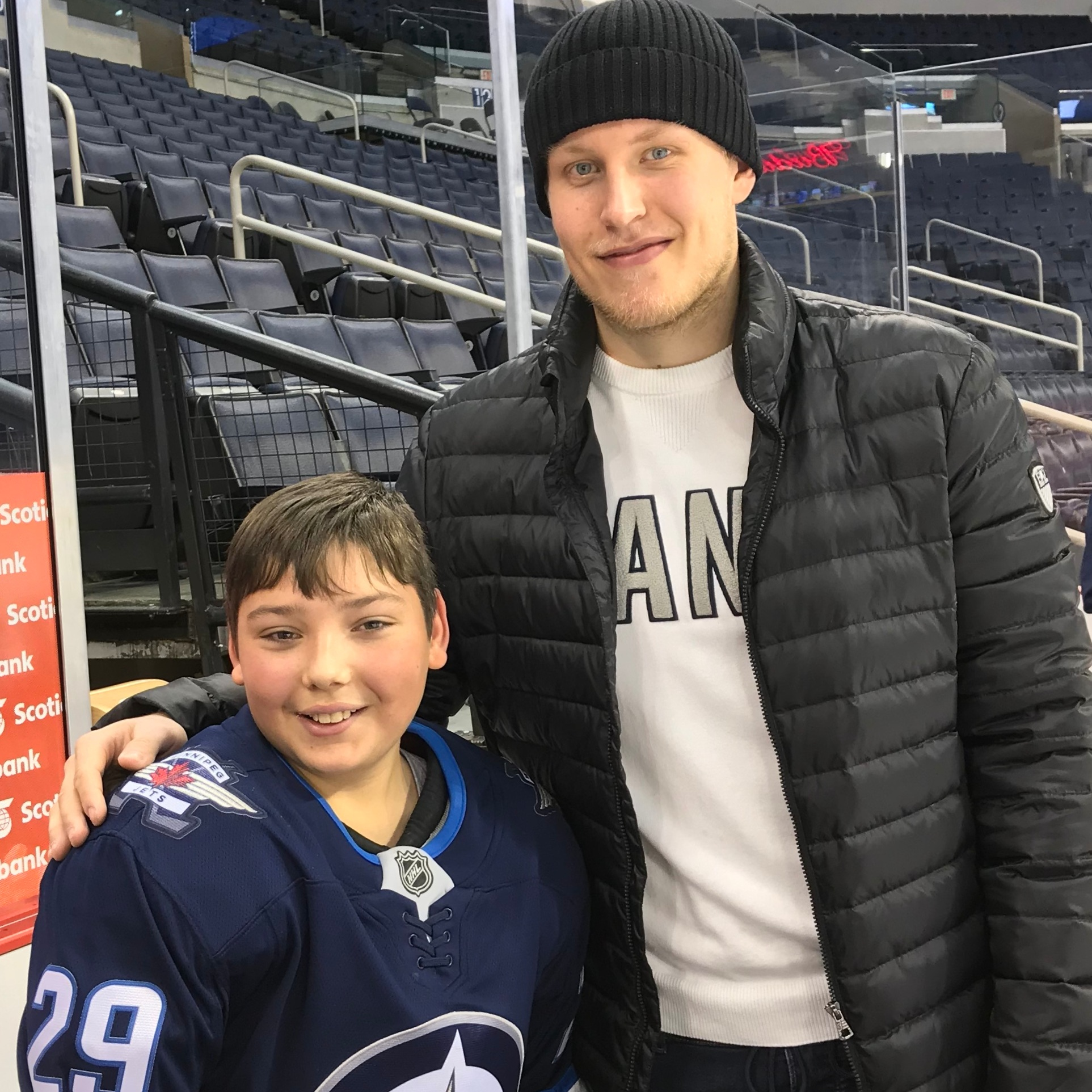 Pictured: Josh was a big part of making Dream Kid Eric's dream of meeting his favourite player, Patrik Laine, come true.