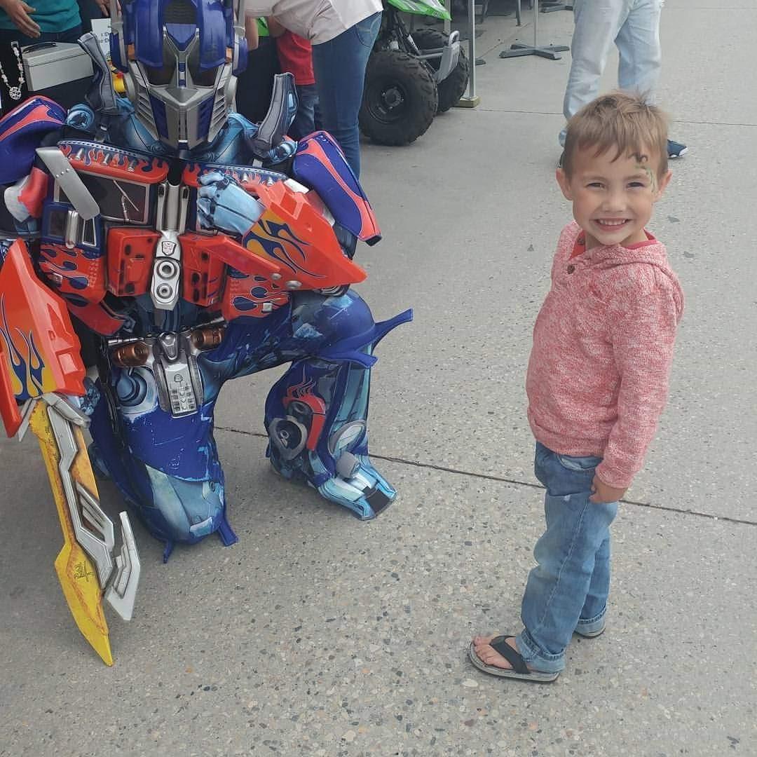 Pictured:  Jaxx meeting one of his favourites - Optimus Prime!
