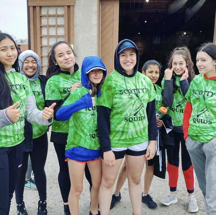 Pictured:  Students from  St. Boniface Diocesan  preparing for the  Manitoba School Dragon Boat Challenge  on June 9th