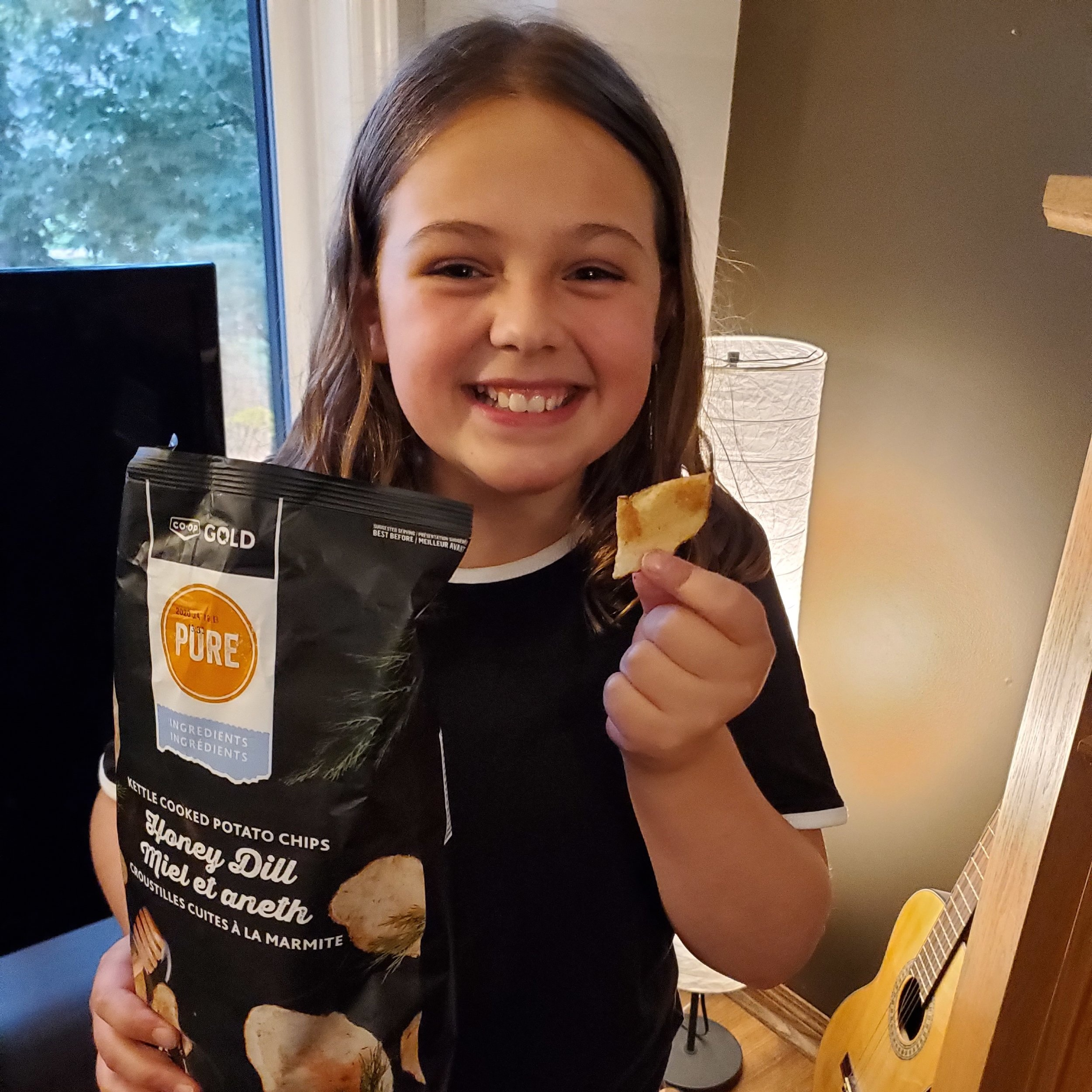Pictured:  Dream Kid  Grace  enjoying the brand new Honey Dill chips from  Ace Burpee  and  Co-op!