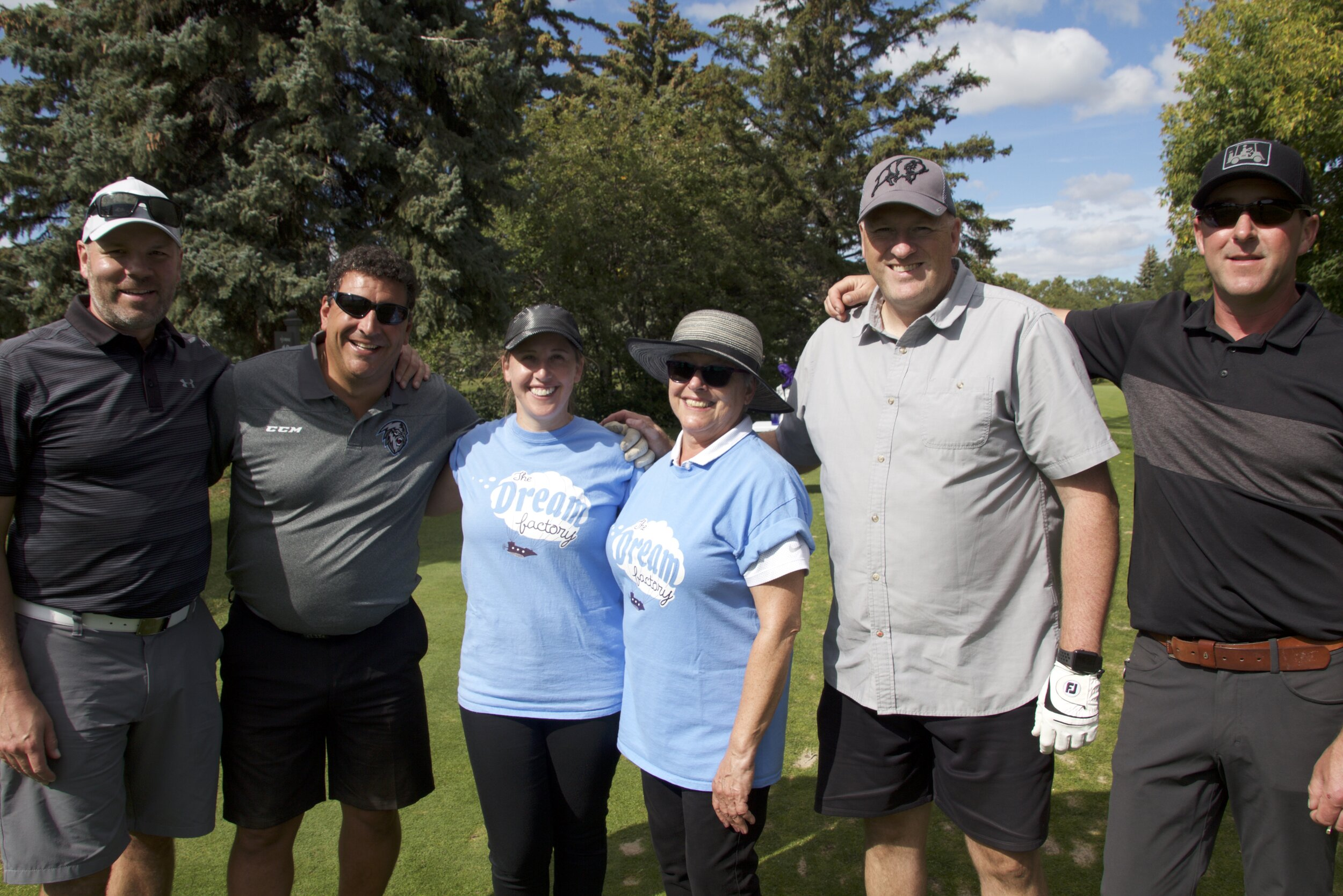 Pictured :  Marc Simard  (second from left) and his team at the 2019 Exchange Income Corporation Golf Fundraiser featuring Josh Morrissey of the Winnipeg Jets!