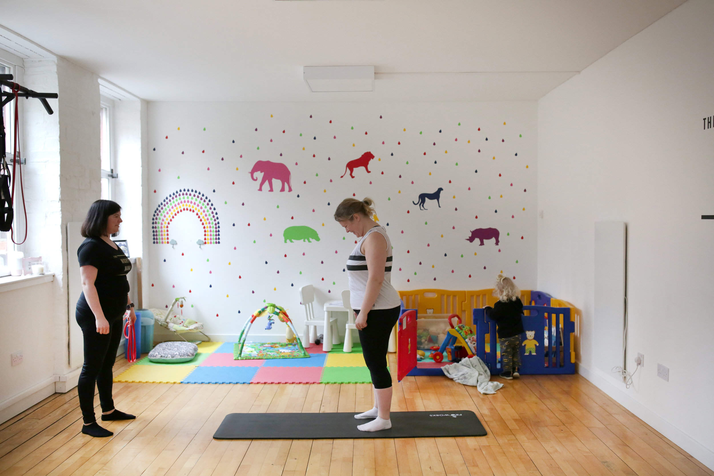 Our children's area has a selection of toys, a playpen and baby seats to make it easier to entertain them when you are getting your workout in -photograph provided by    Denise MacDonald Photography