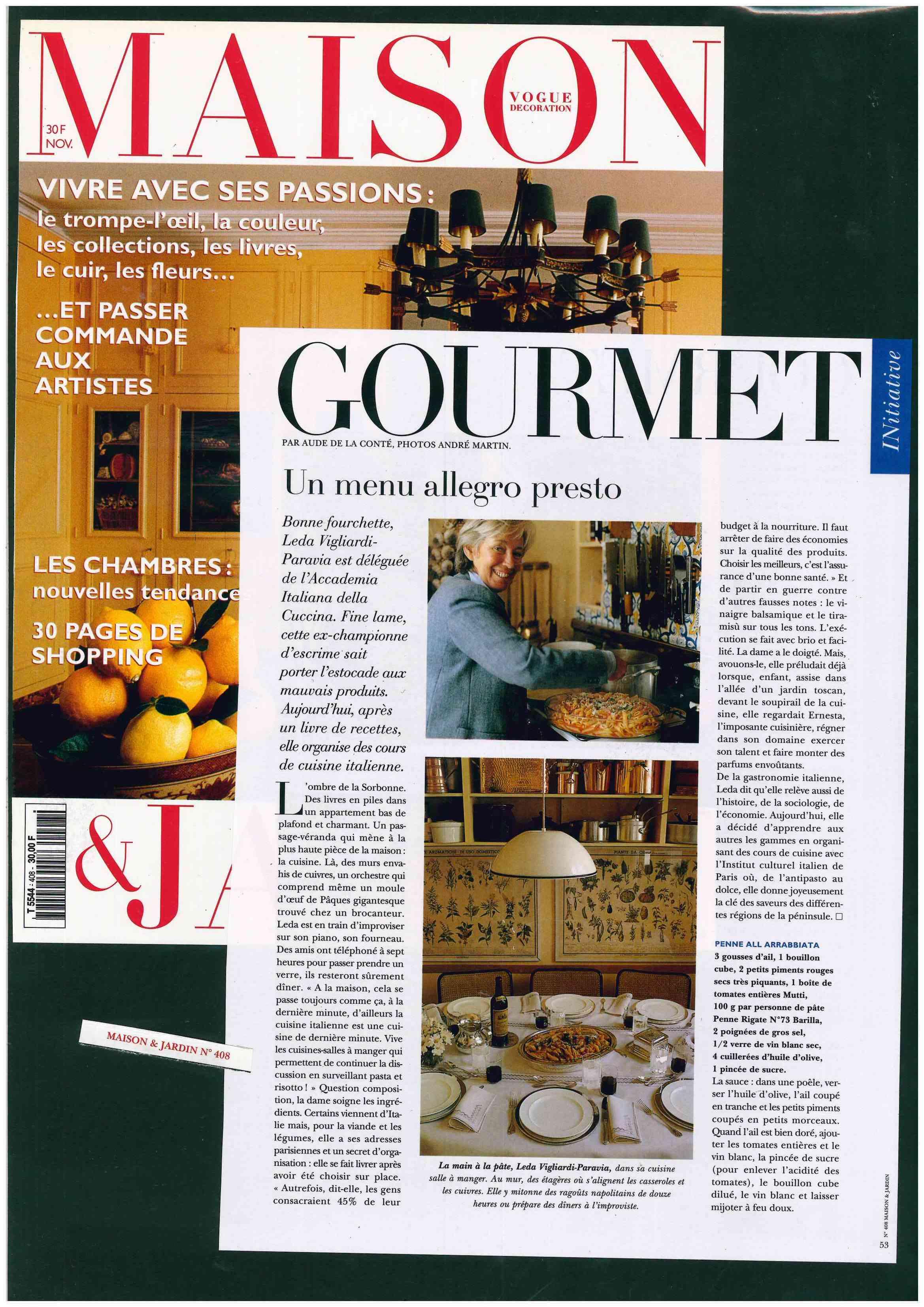 Pubblicazione originale - Vogue FR Decoration - Maison - Gourmet