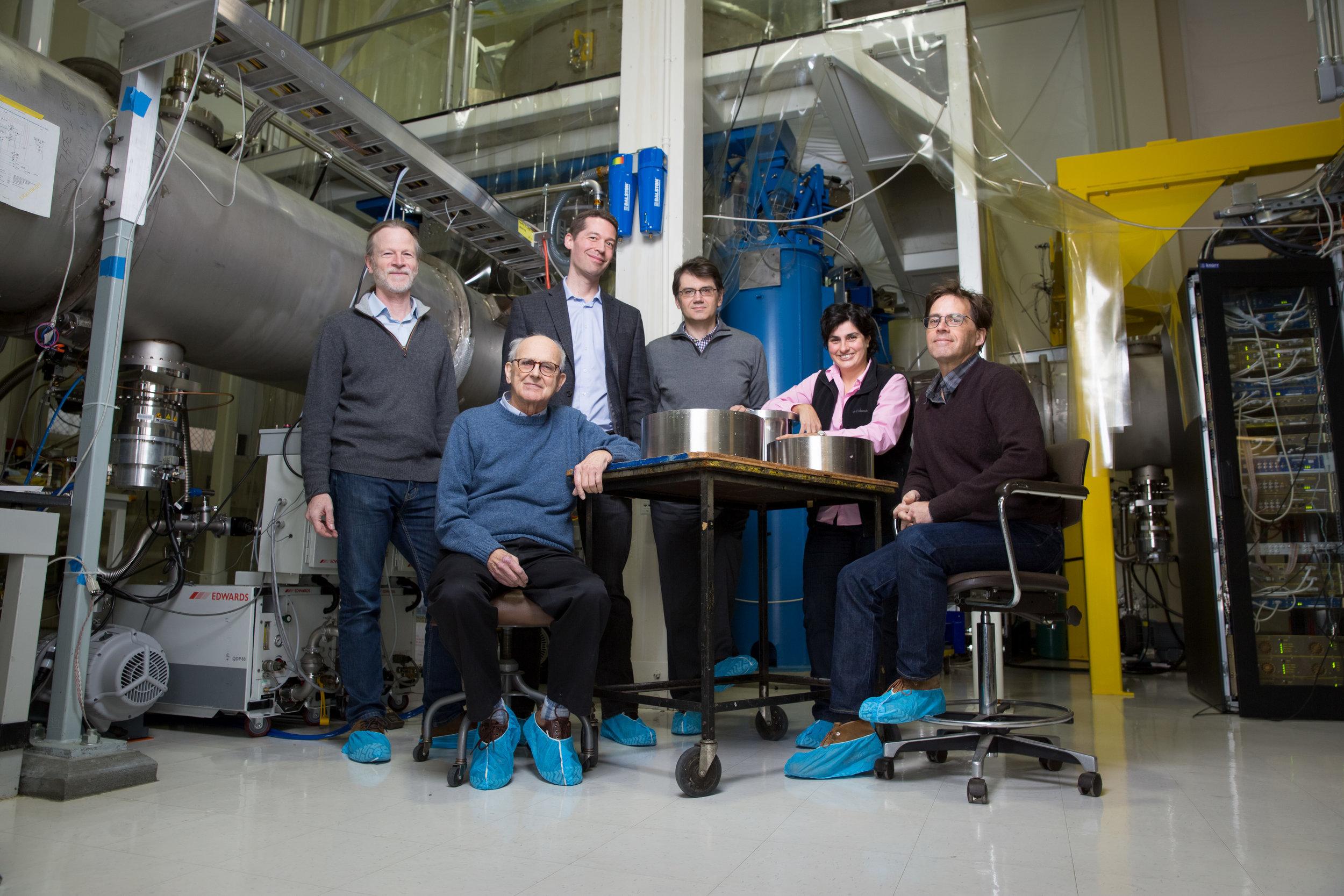 This photograph shows the LIGO research team. (Left to right) David Shoemaker, Rainer Weiss, Matthew Evans, Erotokritos Katsavounidis, Nergis Mavalvala, and Peter Fritschel. Photo: Bryce Vickmark