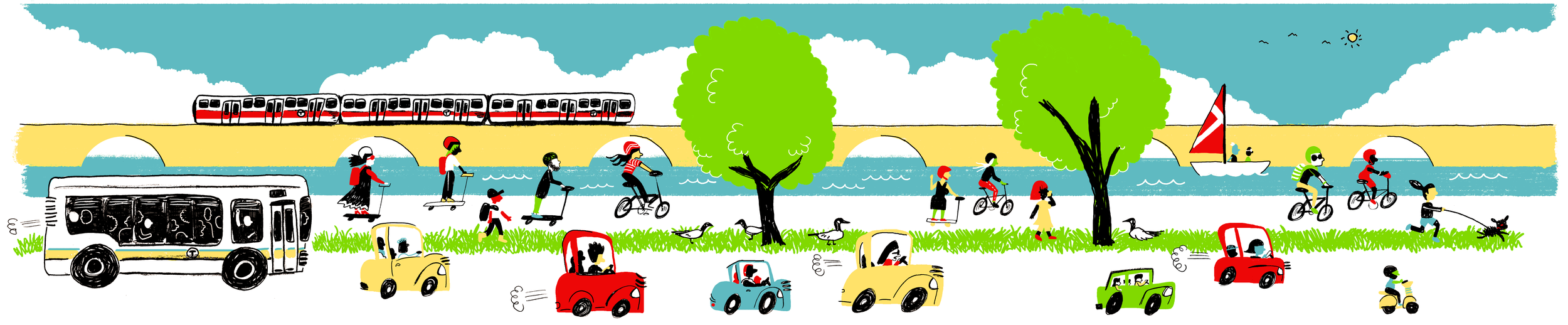Commuting to MIT, 2018: bikes, scooters, cars, the Red Line, and more are all traveling to MIT! Illustration by Jose-Luis Olivares.