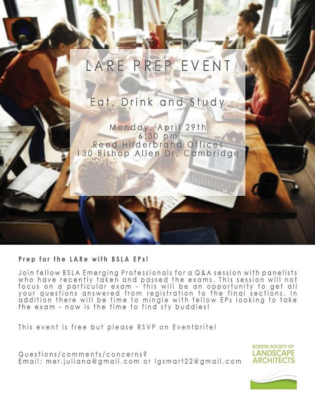 Thinking about taking the LARE? You don't want to miss this event! Emily Wright of @wola_landarch will be part of an informative LARE panel organized by the @bslaoffice at @reedhilderbrand ; visit BSLAnow.org for more info!