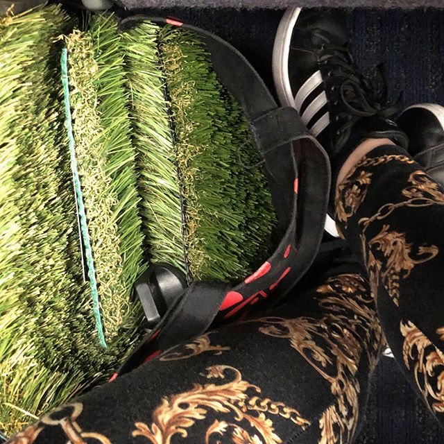 Adidas kicks, Gucci pattern leggings, and a tote full of artificial turf. WOLA is heading to NYC for client meetings!