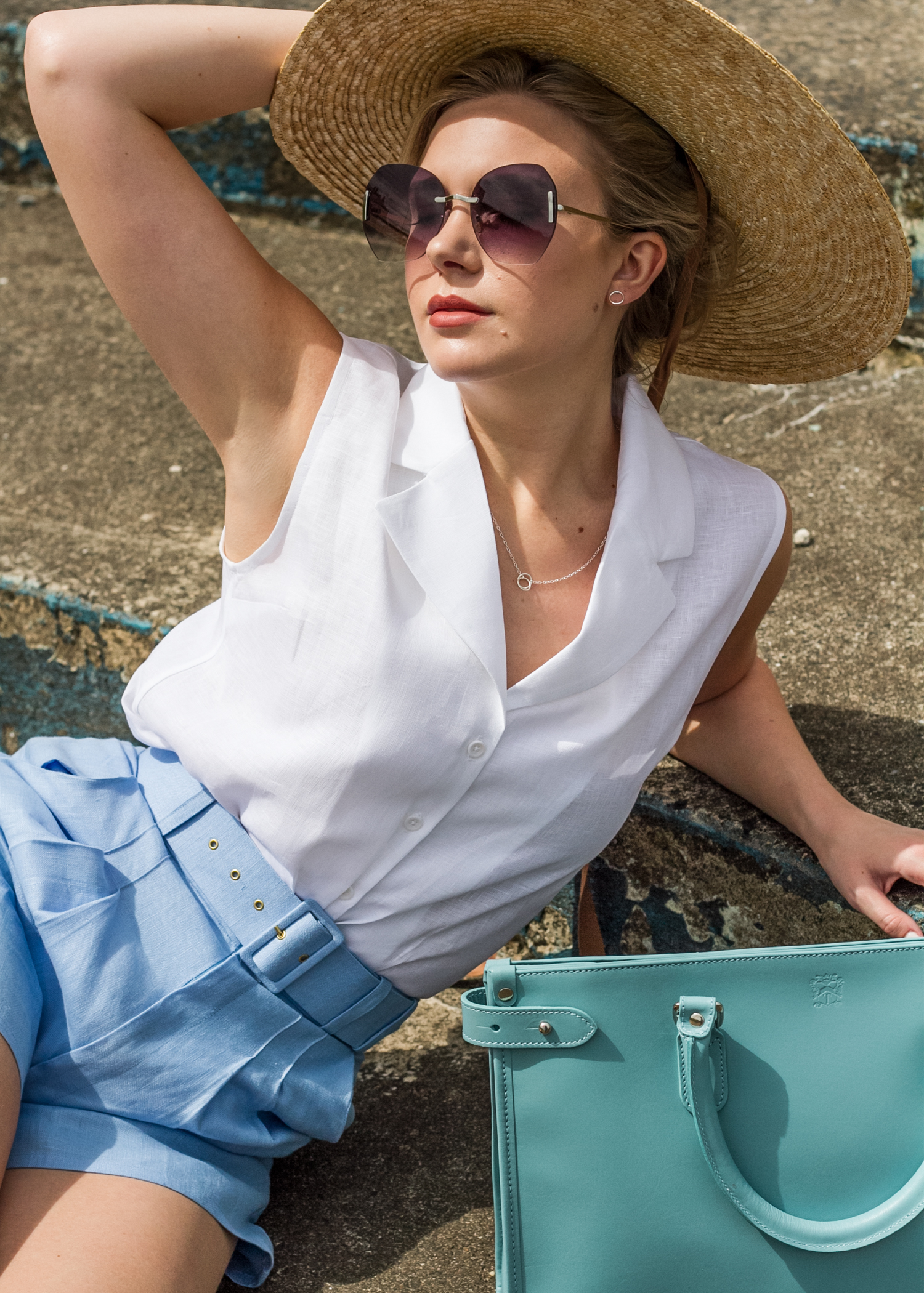 Final photograph from our summer shoot showing the new linen collection.  Model: Jessica Keable  Photographer: Heather Judge  Jewellery: Brass & Bold  Bag: Tusting