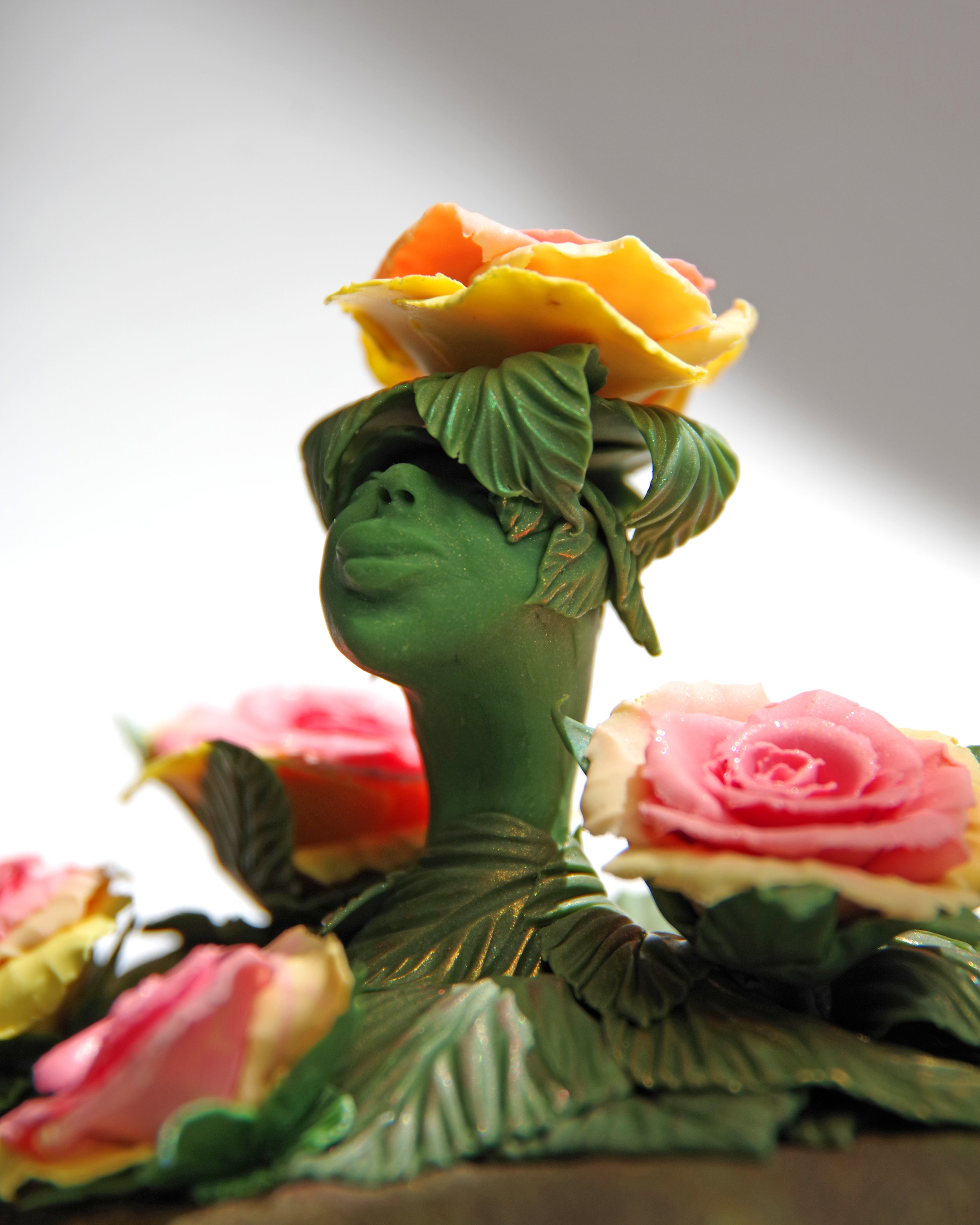 - I used this method for all of her leaves, shifting shades of mica powders as I built from bottom to top.