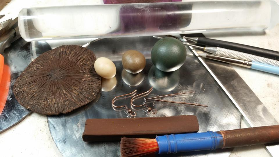 - The mushroom itself requires two shades of polymer clay, one shade of chalk pastel, a needle tool, a sharp blade, and a flattening tool. The earrings use a third color of clay, liquid clay, and some findings.