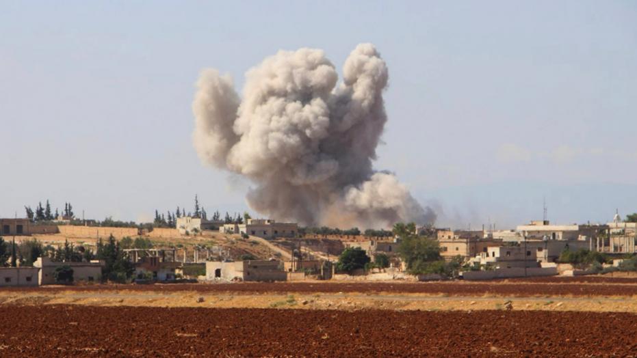 Smoke rising from a Syrian airstrike near Idlib, Syria, Sept. 10, 2018, photo by the Syrian Civil Defense group known as White Helmets, via Fox News.