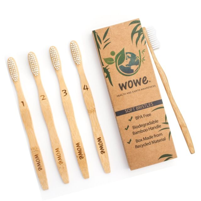 ORGANIC BAMBOO TOOTHBRUSH PACK OF 4