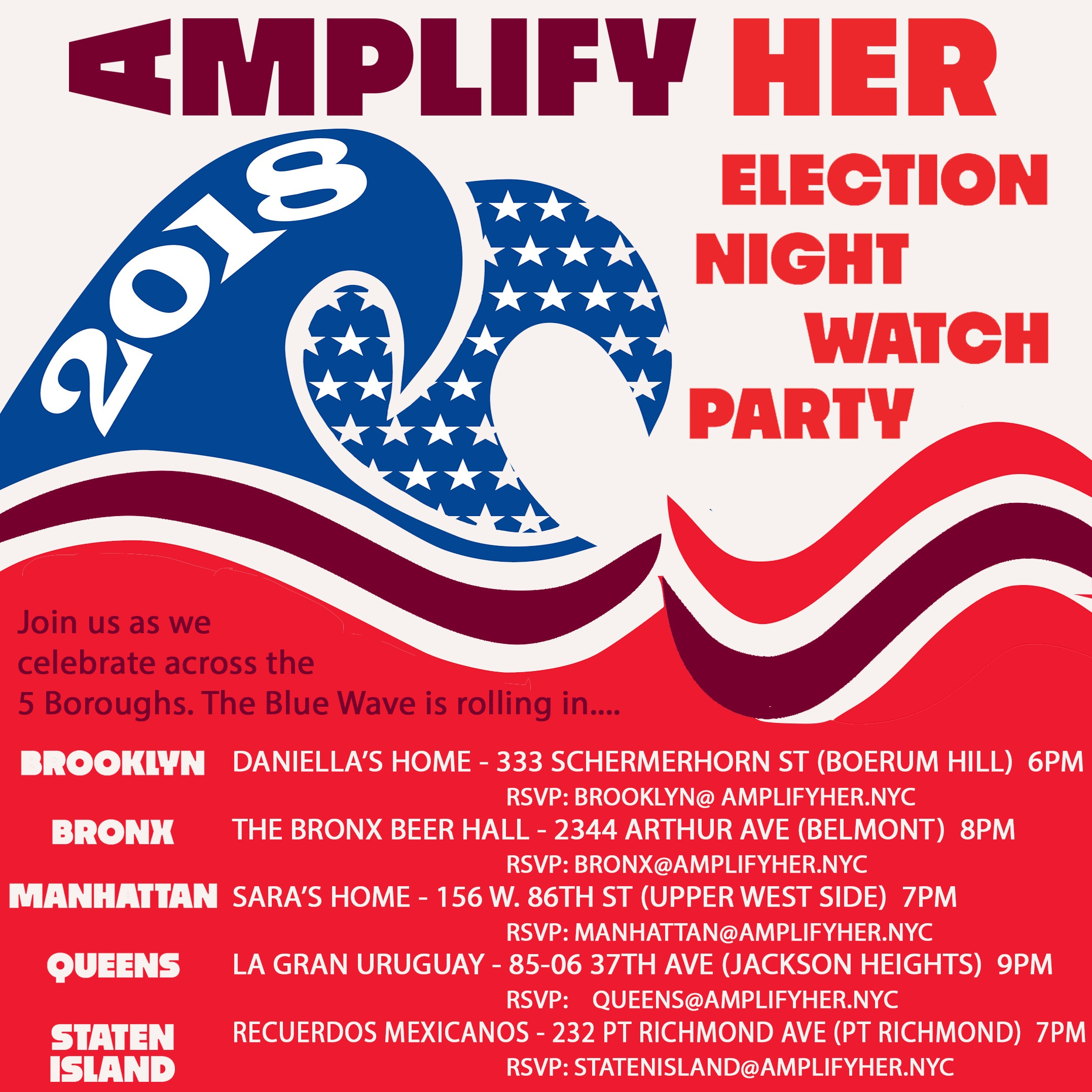 AMPLIFY HER SPECIAL EVENTS (BRONX, BROOKLYN, MANHATTAN, QUEENS, STATEN ISLAND)