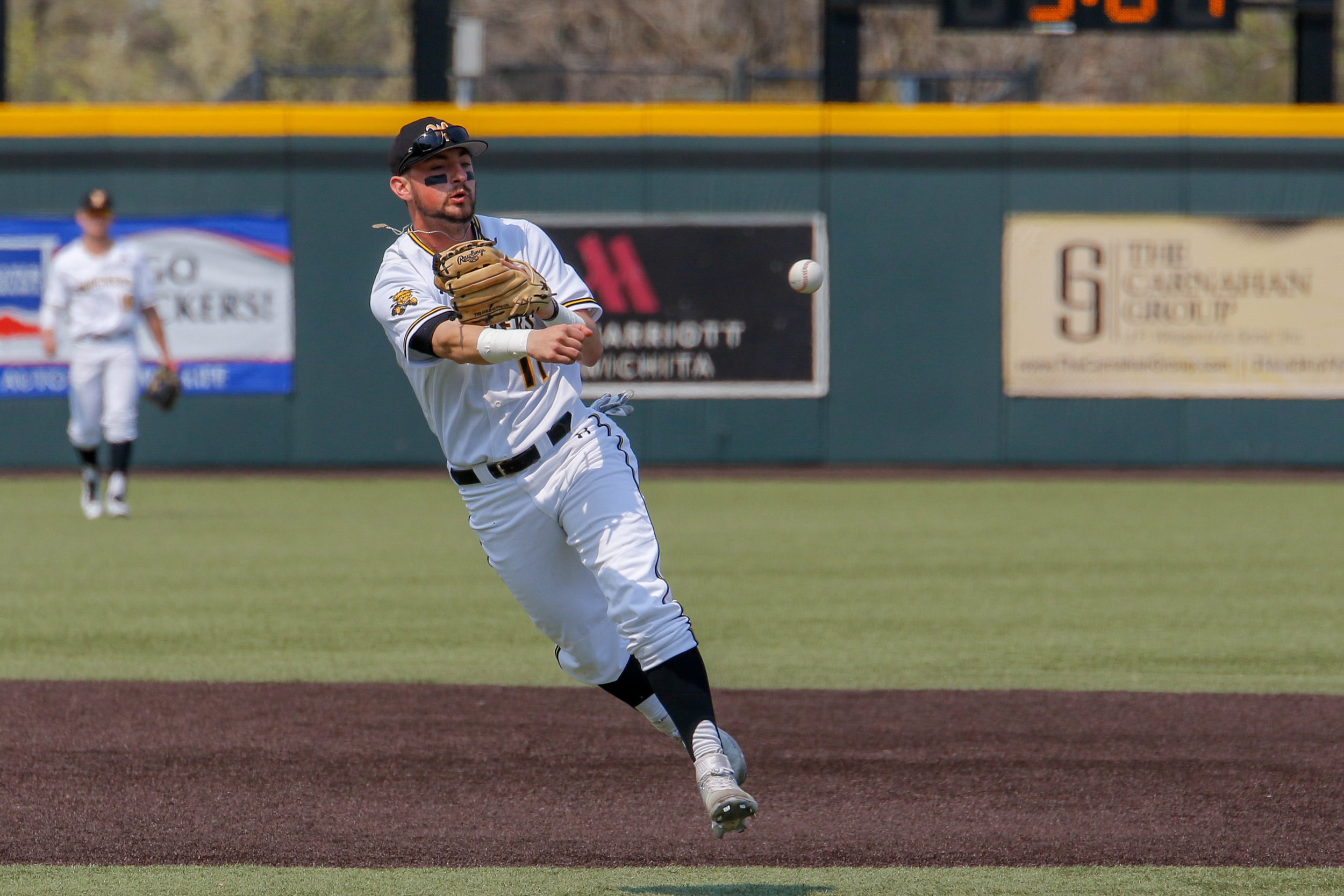 Wichita State's Trey Vickers throws to first base against UConn on April 13, 2018 at Eck Stadium.