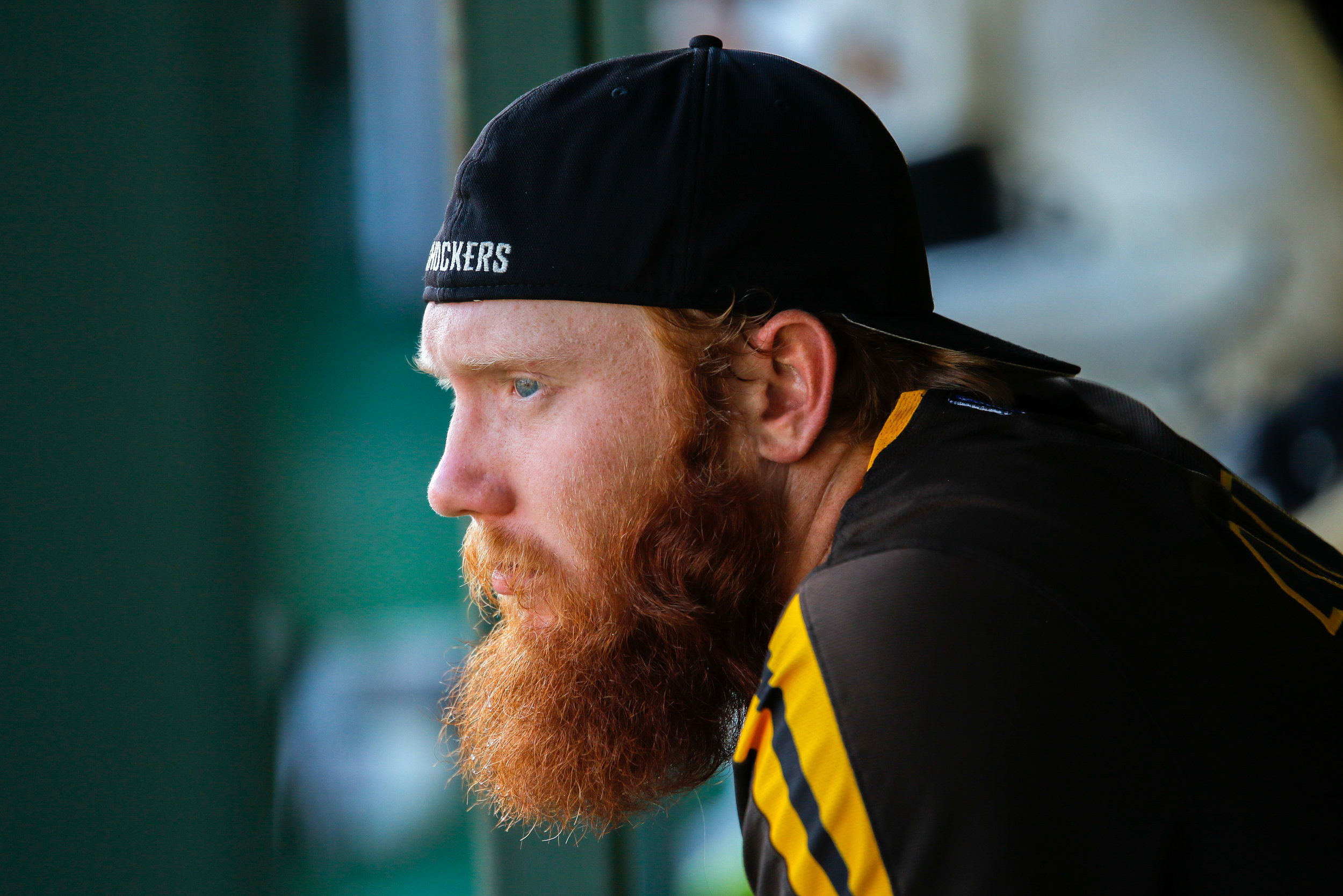 Wichita State's Gunnar Troutwine focuses before their game on May 6, 2018 at Eck Stadium.