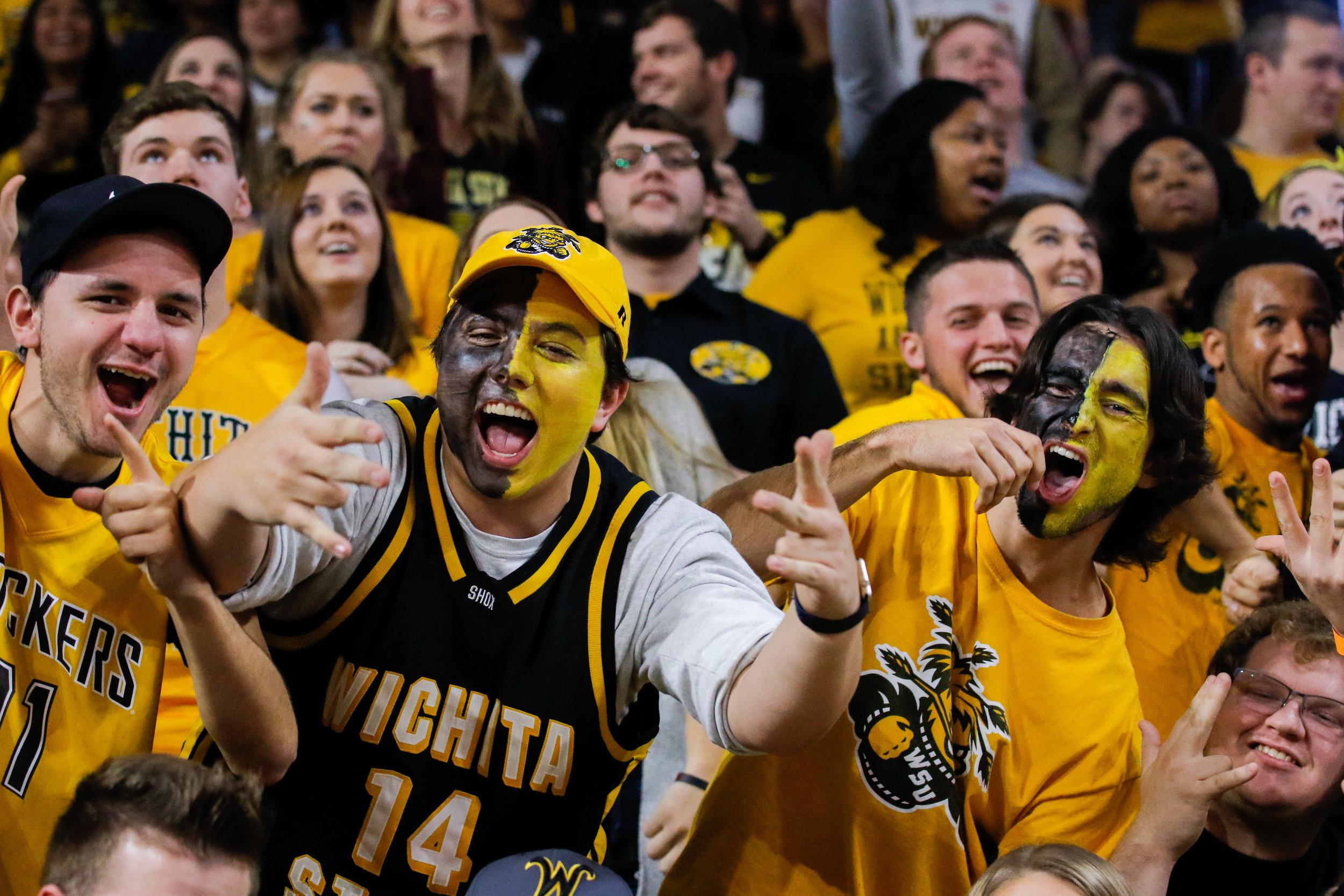 Wichita State fans celebrate during their game on November 7, 2017 against UMKC in Wichita, KS.