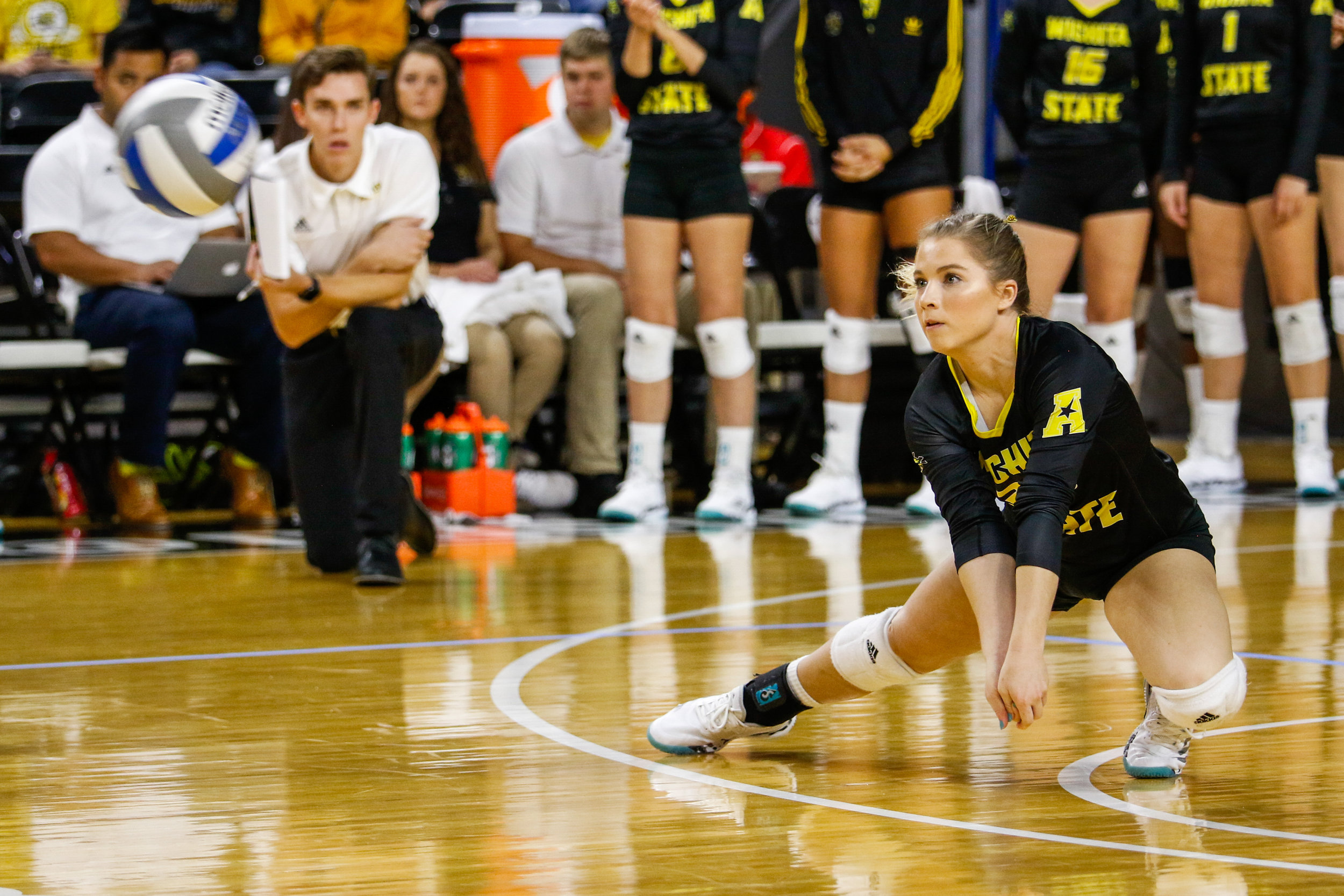 Wichita State's Hanna Shelton gets low for a ball during their game against UCF in Charles Koch Arena on October 1, 2017.