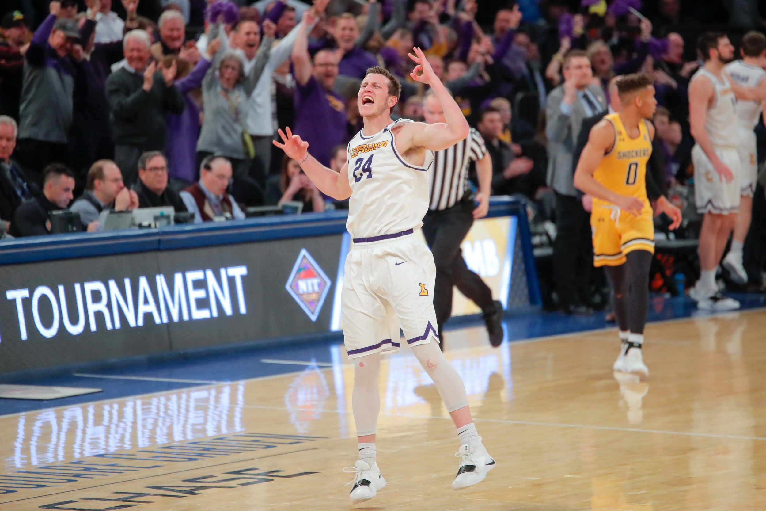 Lipscomb guard Garrison Mathews celebrates after making a crucial three-point shot during the second half of the game on April 2, 2019 at Madison Square Garden in New York. Mathews finished the game with 34 points. (Photo by Joseph Barringhaus/The Sunflower).