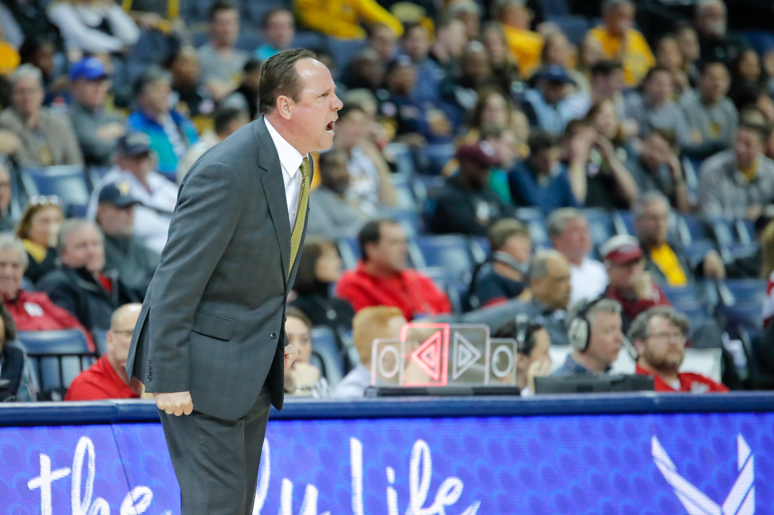 Coach Gregg Marshall screams towards the ref after a controversial call during the second half of the game against Temple on March 15, 2019 at the FedExForum in Memphis, Tennessee. (Photo by Joseph Barringhaus/The Sunflower).