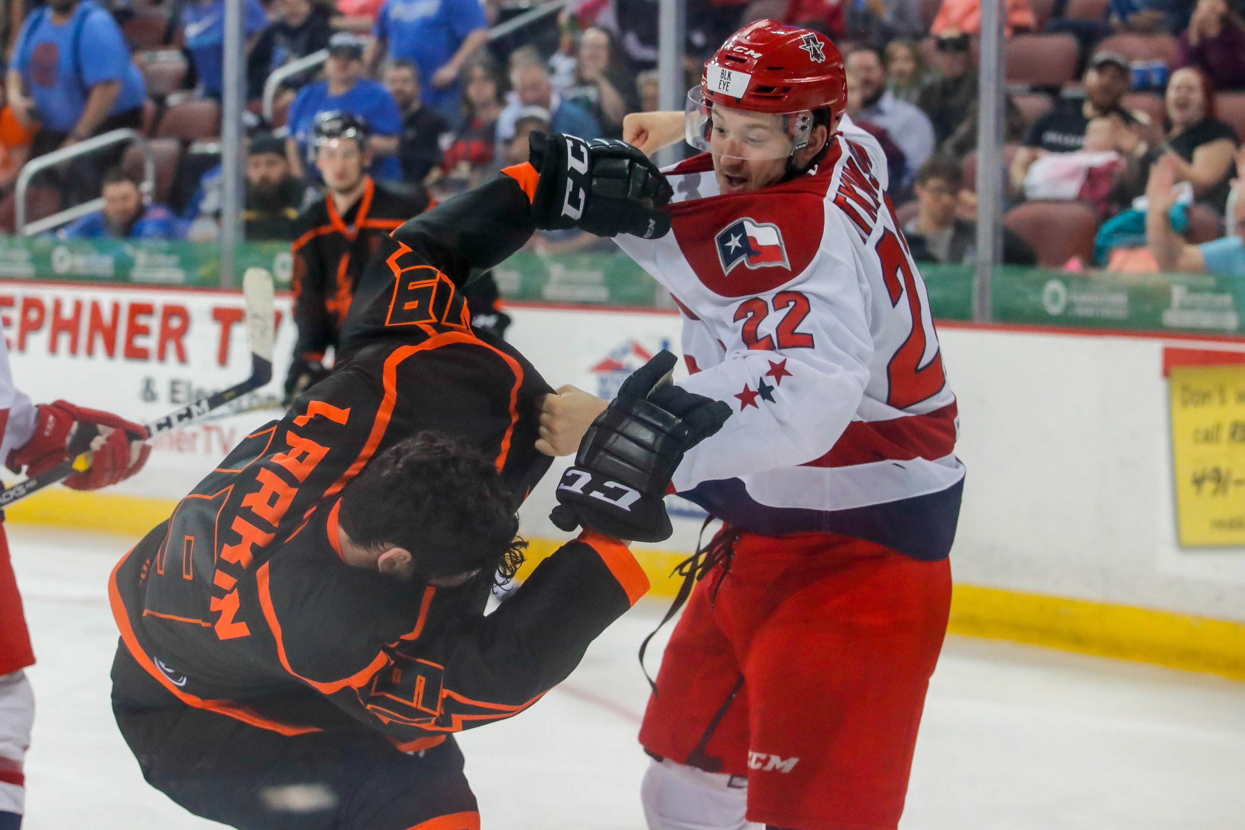 Wichita Thunder forward Colin Larkin fights Allen Americans defenseman Josh Atkinson during the third period of the game on April 5, 2019 at INTRUST Bank Arena. (Photo by Joseph Barringhaus/The Sunflower).