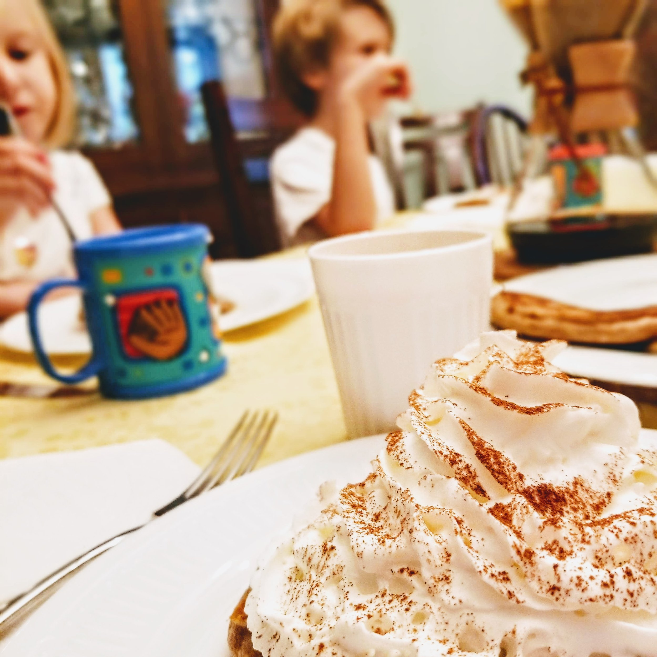 A generous mound of whipped cream and a sprinkling of cinnamon make these as beautiful as anything you would get in a restaurant.