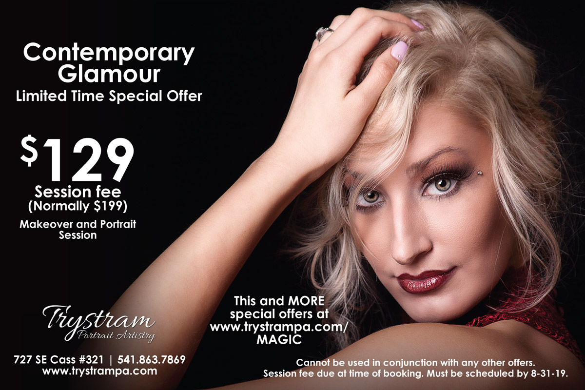 Contemporary Glamour - Makeover and magazine style glamour session. All retouching is included. Prints or digital files are available at an additional fee. Must be booked by April 15, 2019.