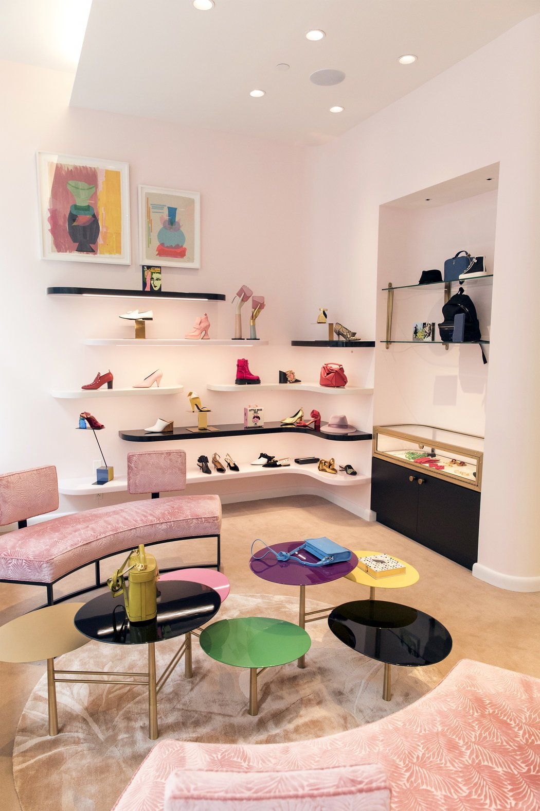 The shoe salon, with a mix of winks to the original Miami Beach store. CreditStefania Curto for The New York Times
