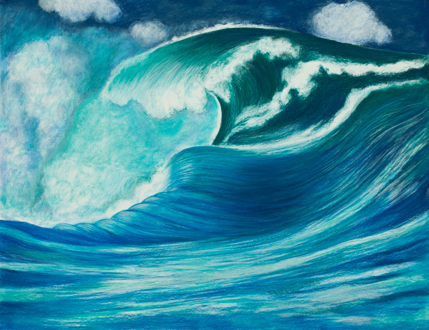 "Aquatic Energy #5 Pastel, 38"" X 50"""