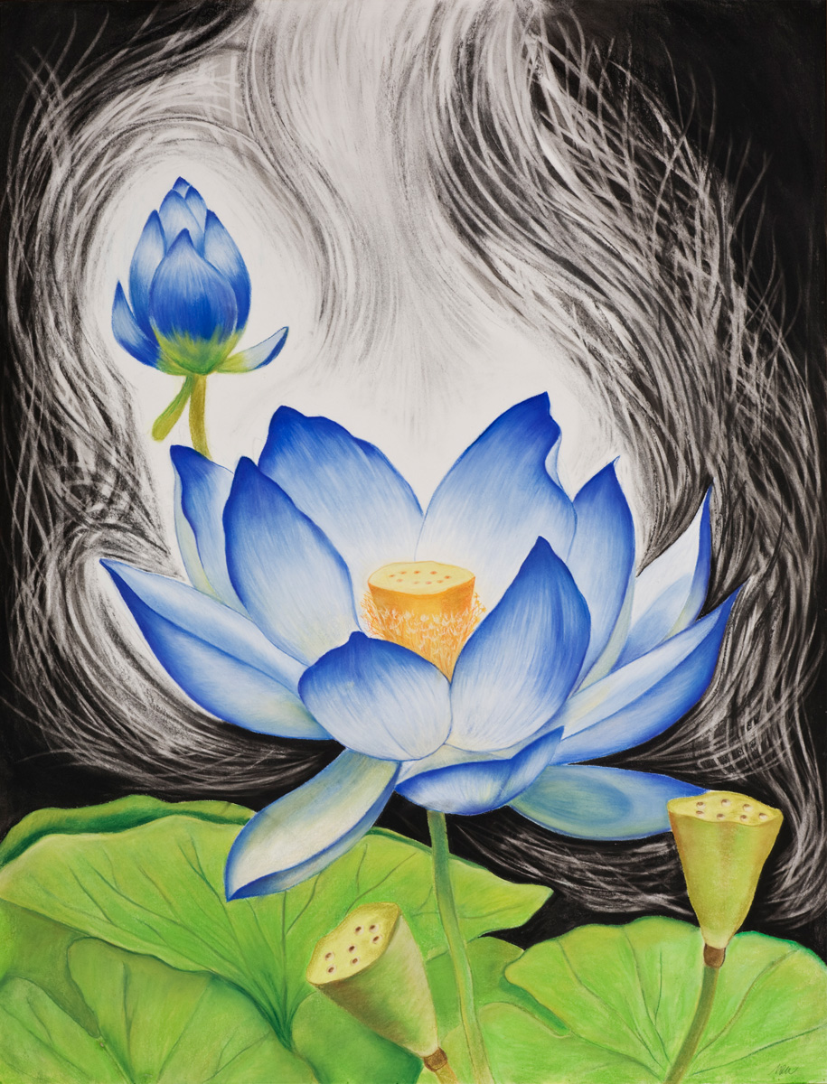 Lotus Power ( SOLD ) Pastels and charcoal on paper, 38 X 50 inches
