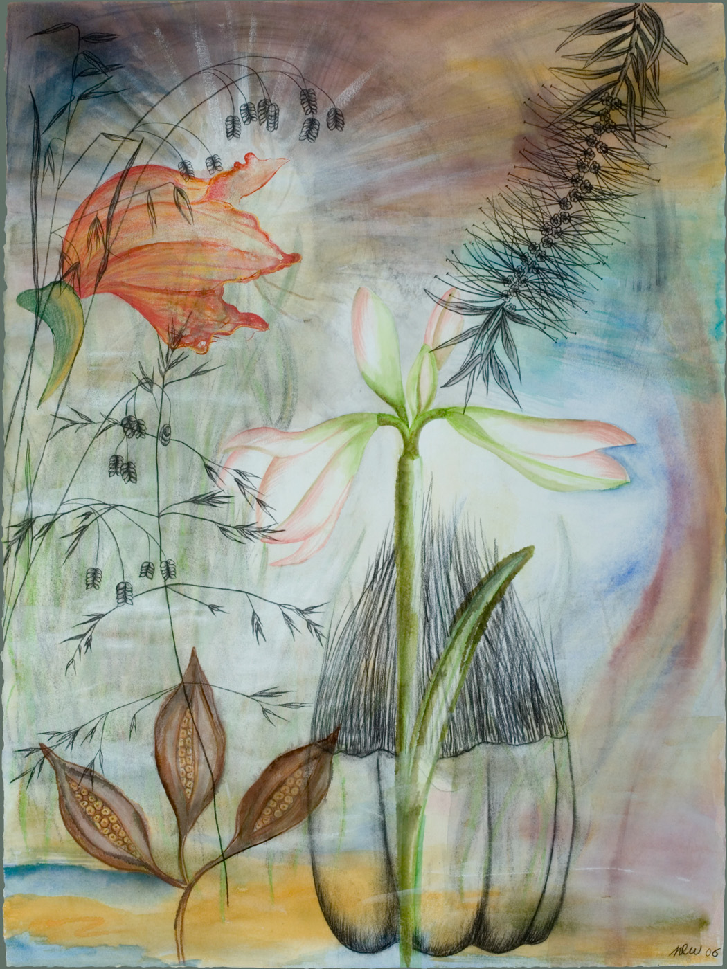 Hawaiian Paintbrush ( SOLD ) Watercolor, ink, and charcoal on paper, 22 x 30 inches