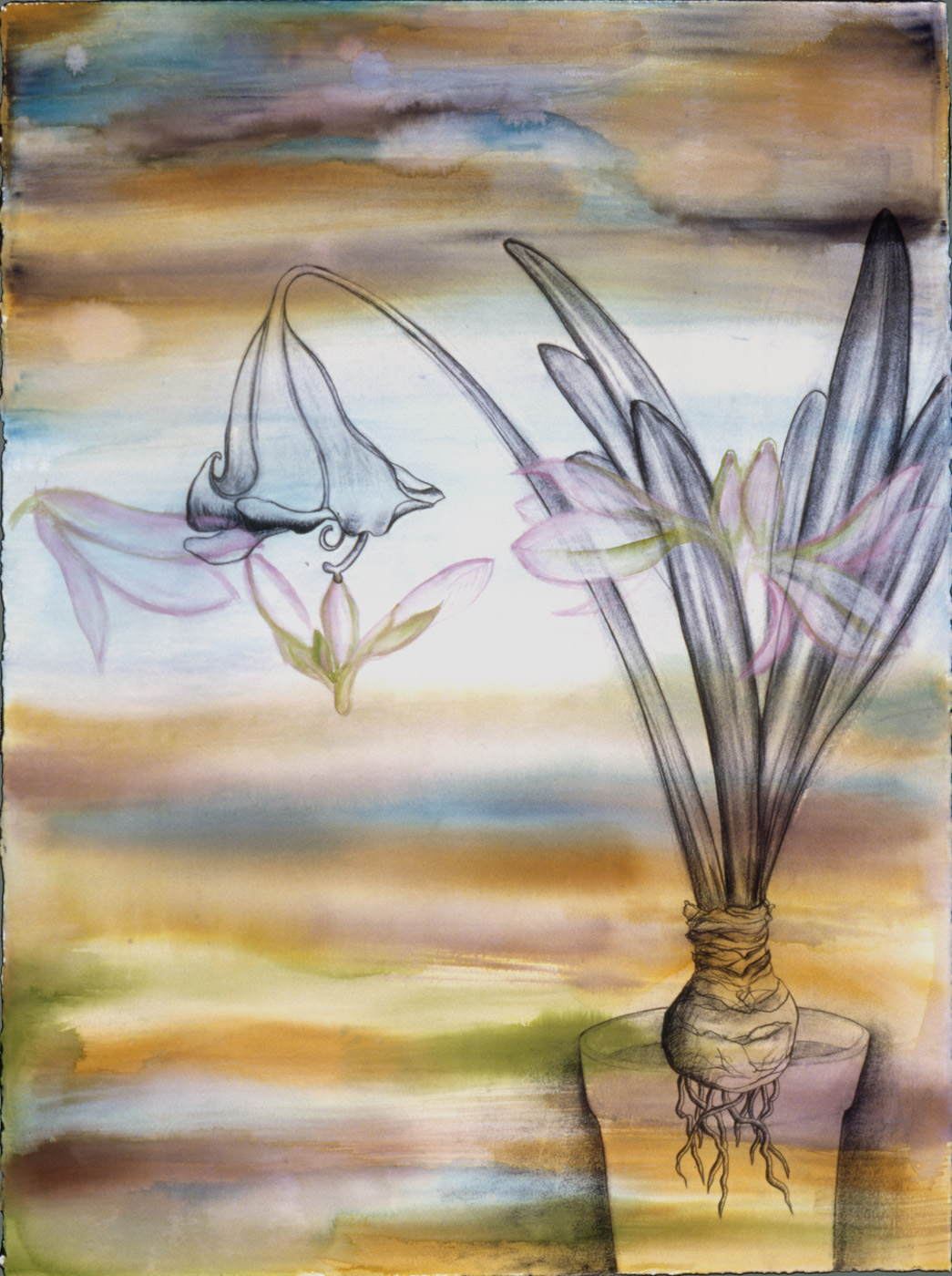 Lilies at Twilight Watercolor, ink, and charcoal on paper, 38 X 50 inches