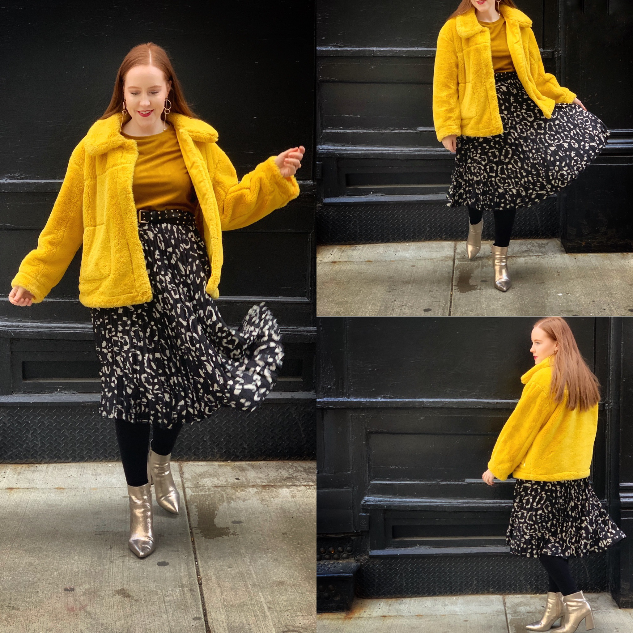 Skirt: H&M (out of stock), similar    here   , this print is available as a dress    here     Top: (actually a dress) Zara (out of stock), similar    here   ,    here   , and    here     Belt:    Target     Boots: Gianni Bini from Dillard's (out of stock) similar    here
