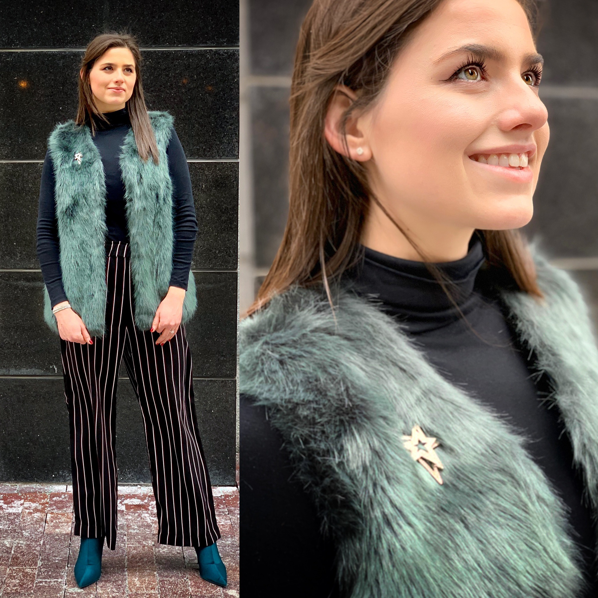 Vest: TJ Maxx &    on Poshmark   , similar    here    and    here     Turtleneck: Old Navy (out of stock), similar    here    and    here     Pants: H&M (out of stock), similar    here   ,    here   , and    here     Booties:    Calvin Klein     Brooch: Lord & Taylor (out of stock), similar    here   ,    here   , and    here