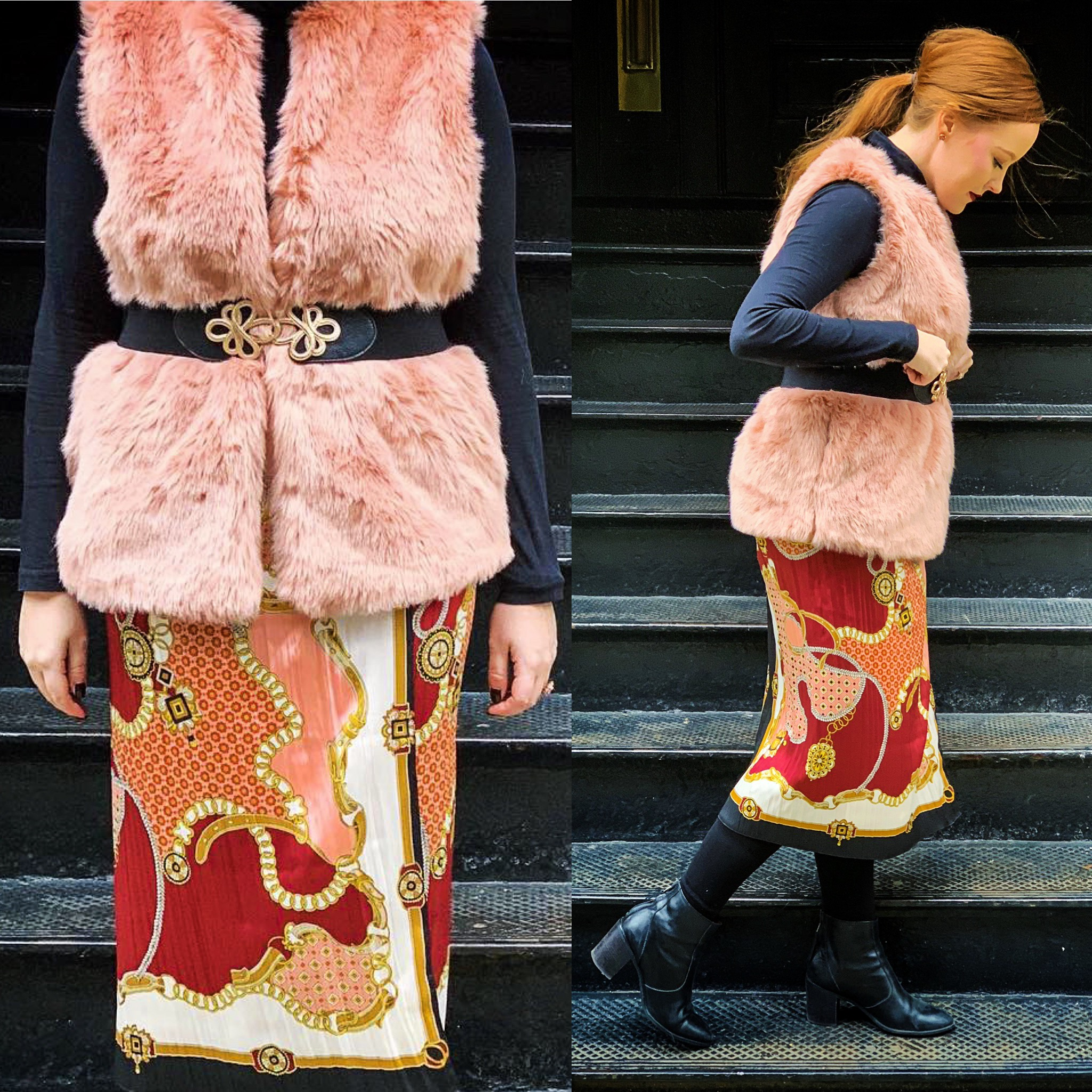 Belt: Fab'rik (out of stock), similar    here     Skirt: Zarac (out of stock), similar    here   ,    here   , and    here     Vest: Target (out of stock), similar    here