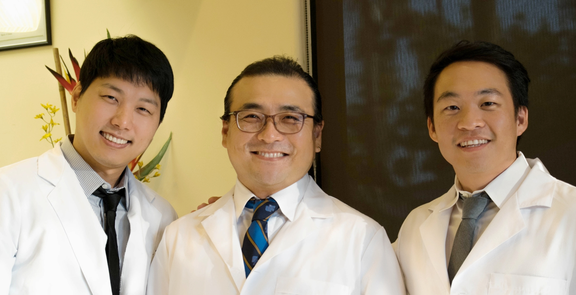 OUR PROUD DOCTORS    :    Dr. Kiwon Youn (Left),   Dr. Peter Sounghoon Cho (Middle),   Dr. Jonathan Song (Right)