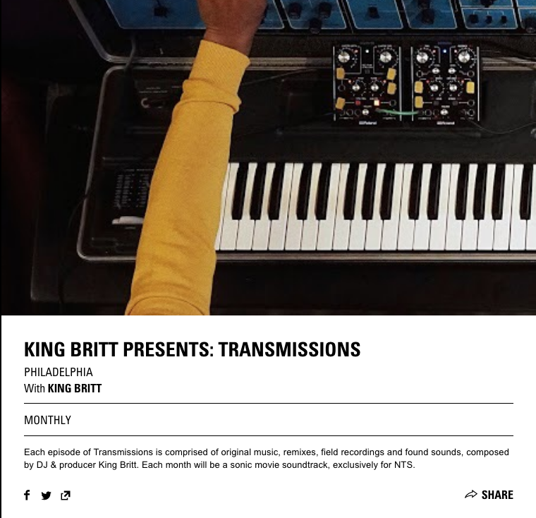 KING BRITT - TRANSMISSIONS ON NTS RADIO