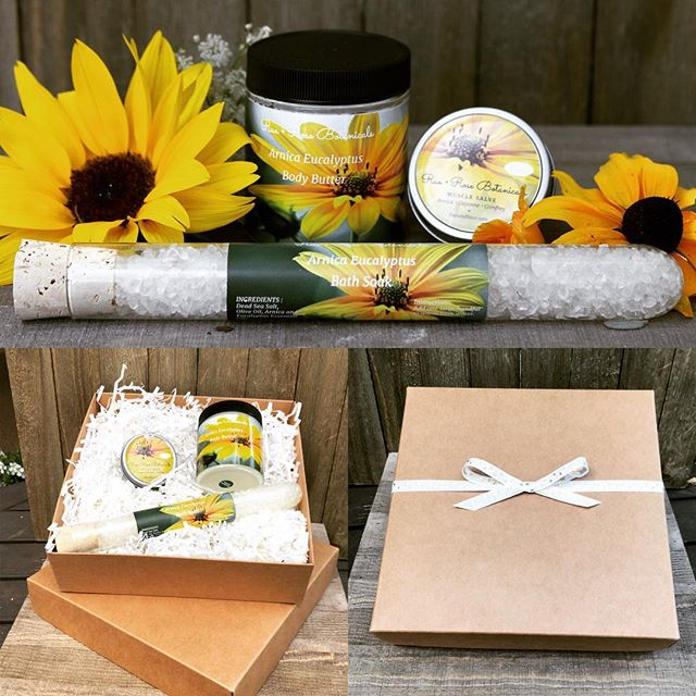 Here are our new Arnica and Eucalyptus gift sets. The set includes a Bath Salt, a Body Butter, and our oh so popular Muscle Rub.