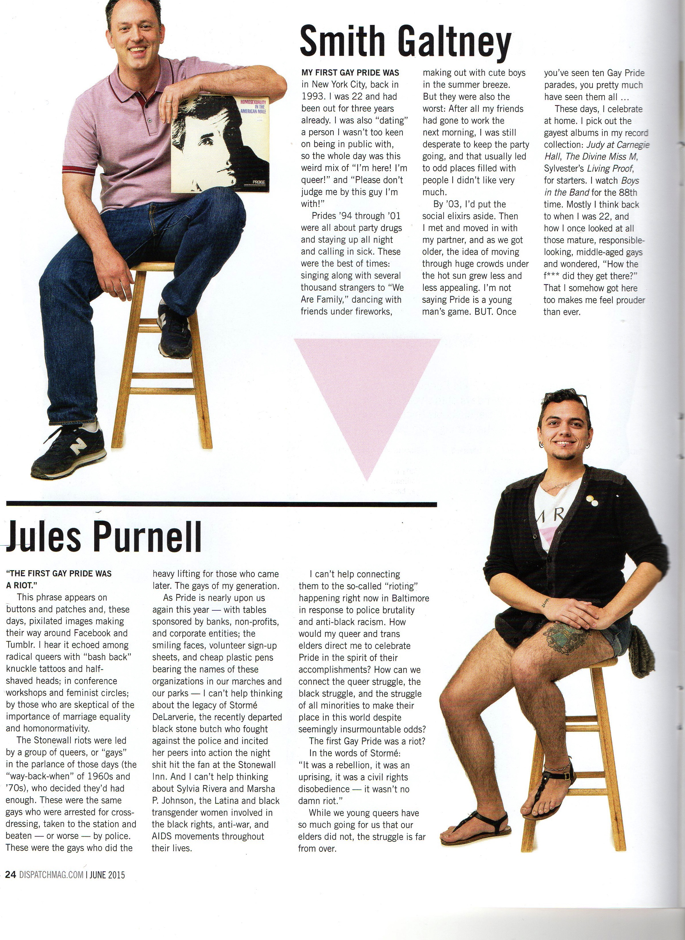 Jules was featured in the  Dispatch Magazine Pride Guide , 2015.
