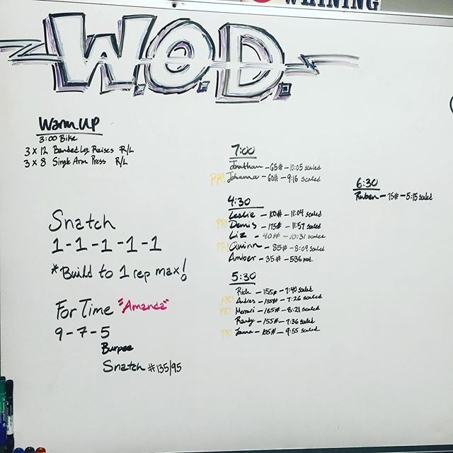 #crossfitupland #snatch great job everyone PRs all over the whiteboard #crossfit