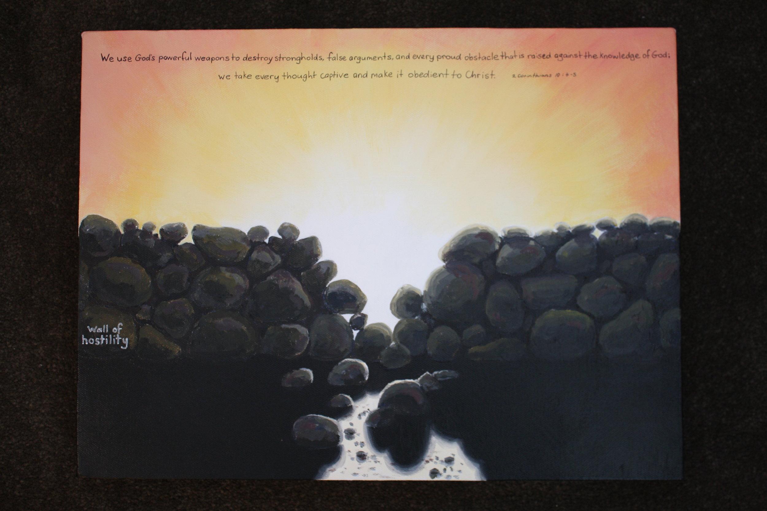 Wall of Hostility  (2013). Acrylic on canvas 300mm x 400mm