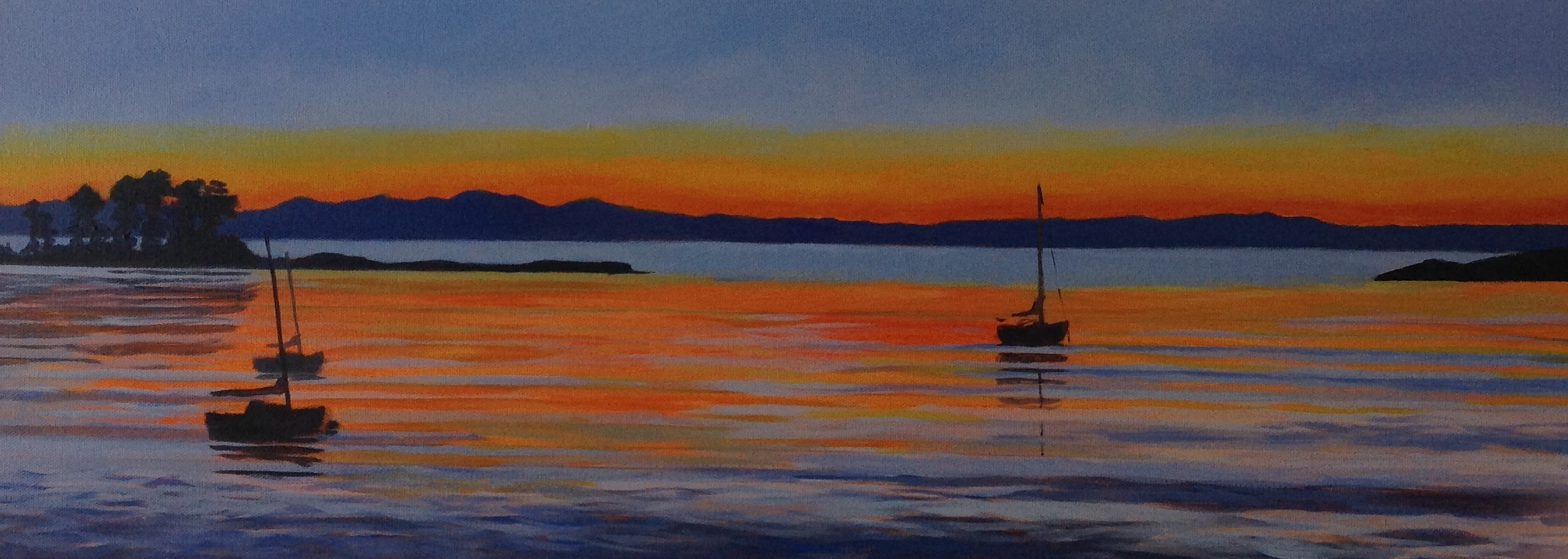 The Cut – Nelson  (2014). Acrylic on canvas 250mm x 760mm